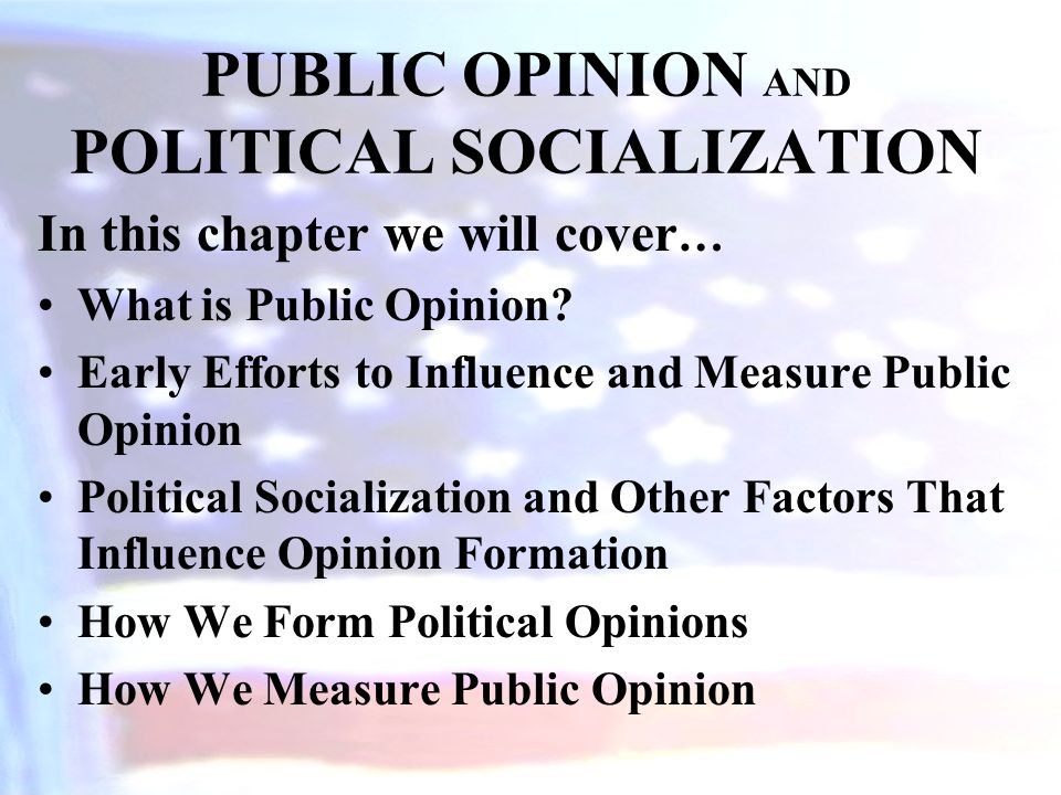 5 factors that influence political socialization A lot of different factors affect a person's political socialization personal factors, such as your family, social and economic classes, education and peer groups, all influence your political.