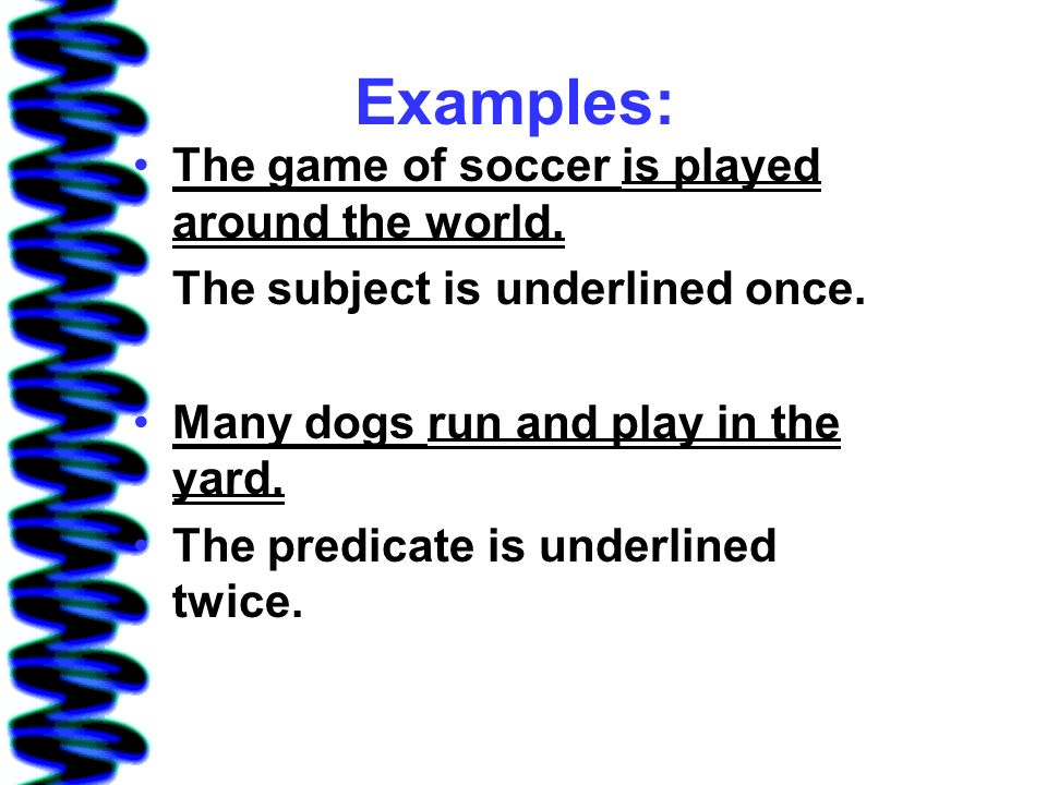 Examples: The game of soccer is played around the world.