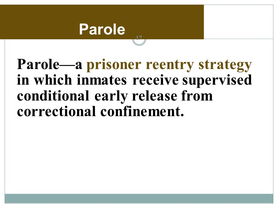 prison system parole and reentry Assessing current programs and reentry needs in trinidad and tobago:  insights from  recommended the establishment of a parole system to alleviate  prison.