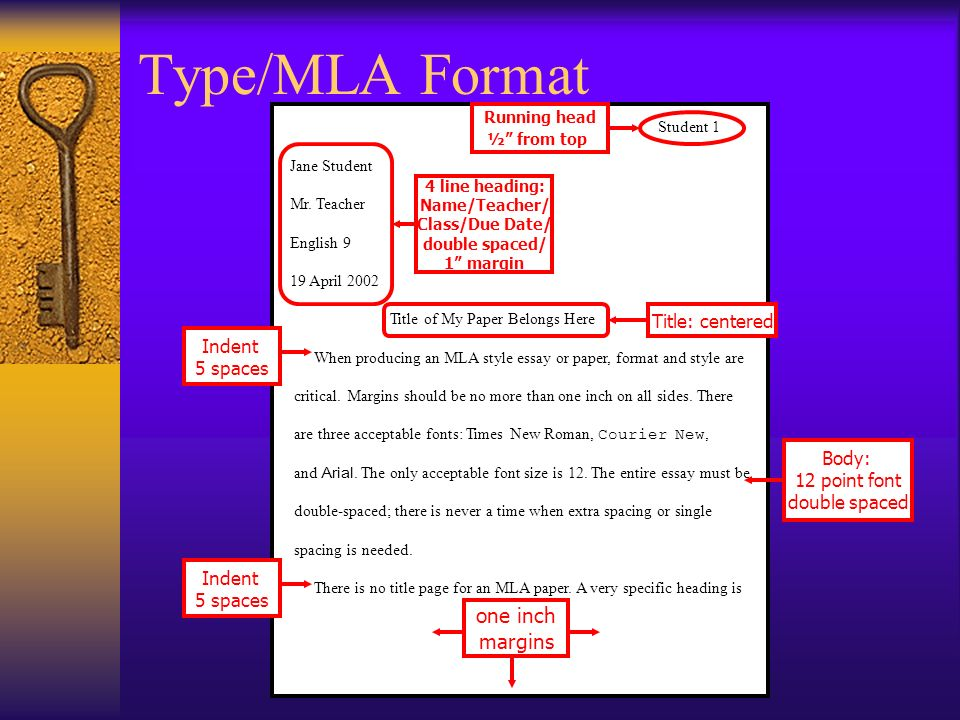Type/MLA Format one inch margins Title: centered Indent 5 spaces Body: