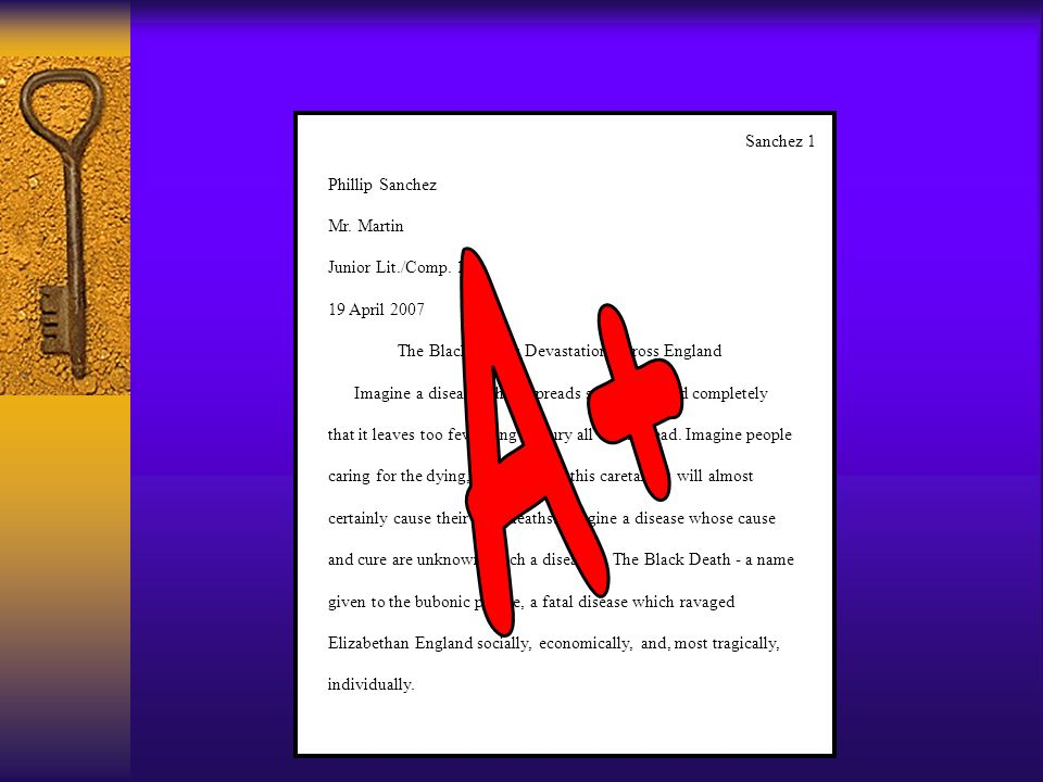 A+ Sanchez 1 Phillip Sanchez Mr. Martin Junior Lit./Comp. 100