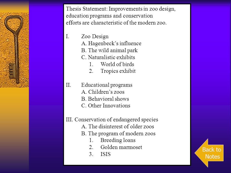 Thesis Statement: Improvements in zoo design,