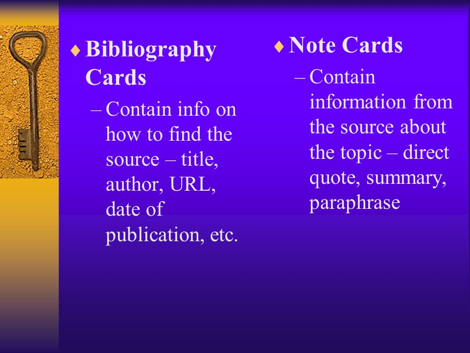 Note Cards Bibliography Cards