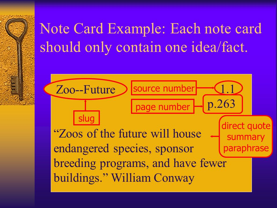 Note Card Example: Each note card should only contain one idea/fact.