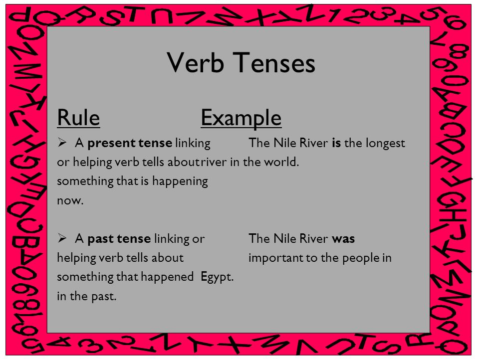 Verb Tenses Rule Example