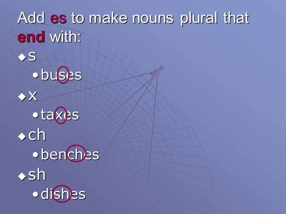 Add es to make nouns plural that end with: