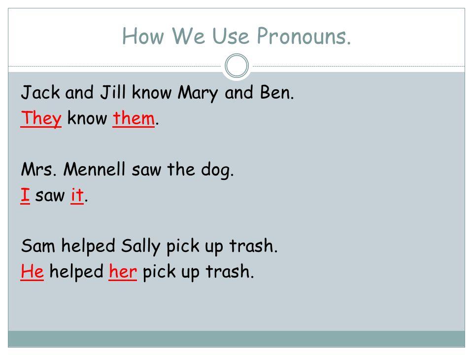 How We Use Pronouns.