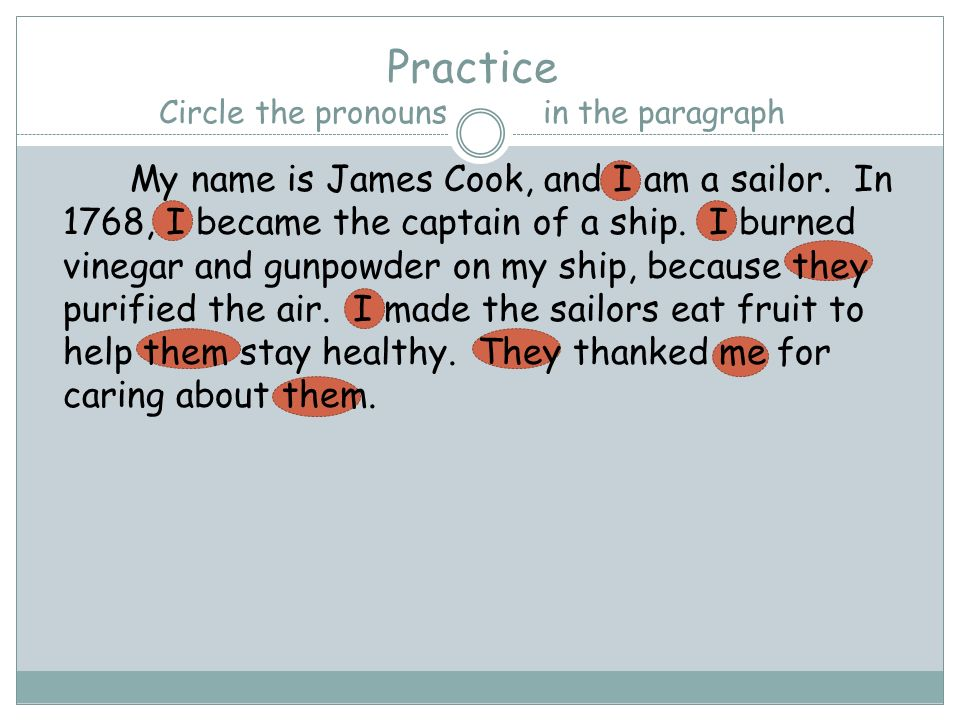 Practice Circle the pronouns in the paragraph