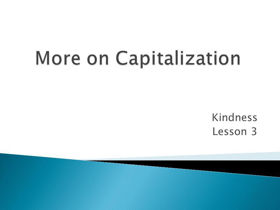 More on Capitalization
