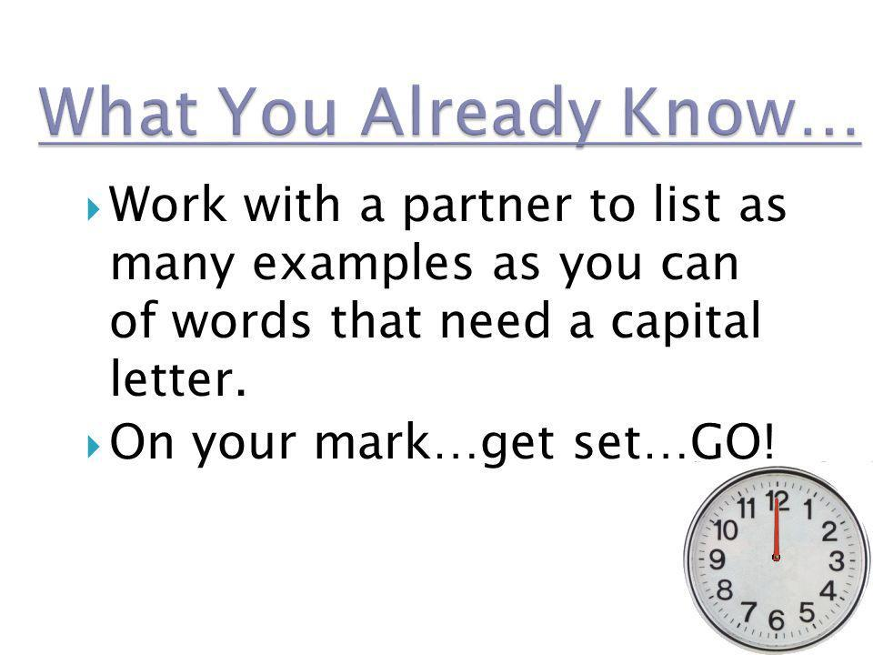 What You Already Know… Work with a partner to list as many examples as you can of words that need a capital letter.