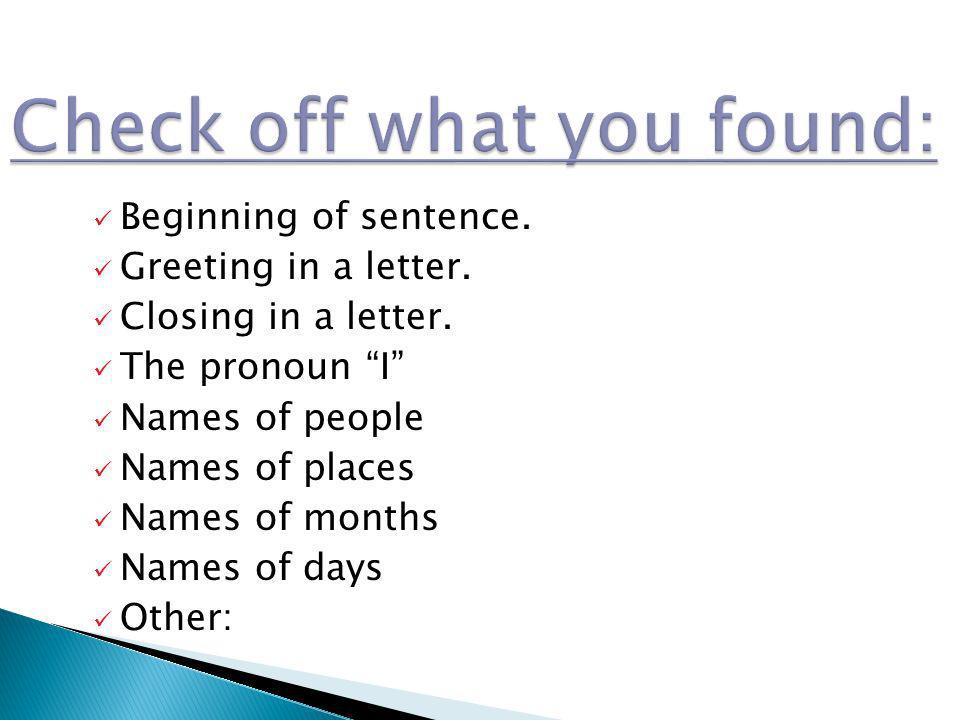 Check off what you found: