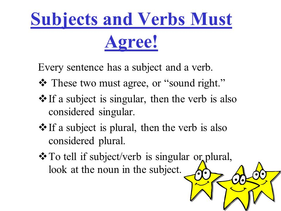 Subjects and Verbs Must Agree!