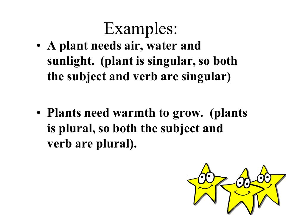 Examples: A plant needs air, water and sunlight. (plant is singular, so both the subject and verb are singular)