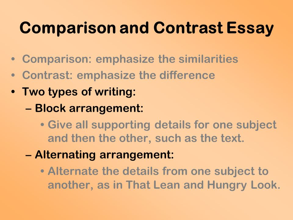 Comparing And Contrasting Essays