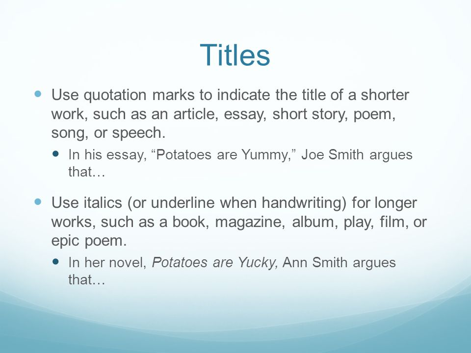 short story in essay italics Using titles when you use sources (novels, collections of short stories, readers, school do not use italics in the title of a short work unless a title of a.