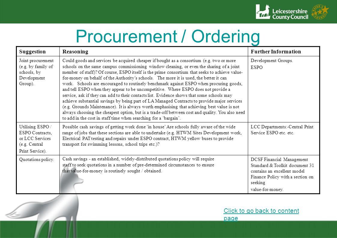 Procurement / Ordering