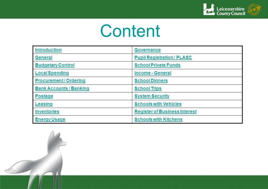 Content Introduction Governance General Pupil Registration / PLASC
