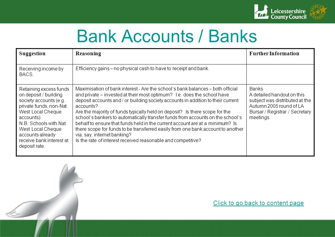 Bank Accounts / Banks Click to go back to content page Suggestion