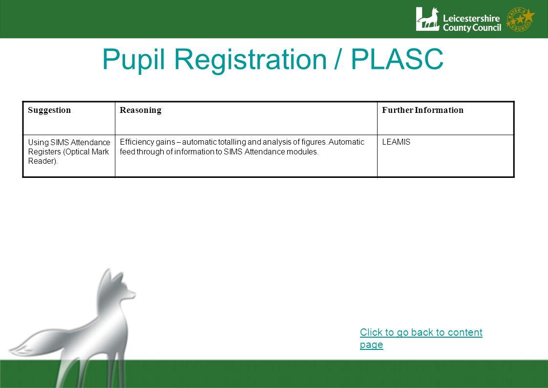 Pupil Registration / PLASC