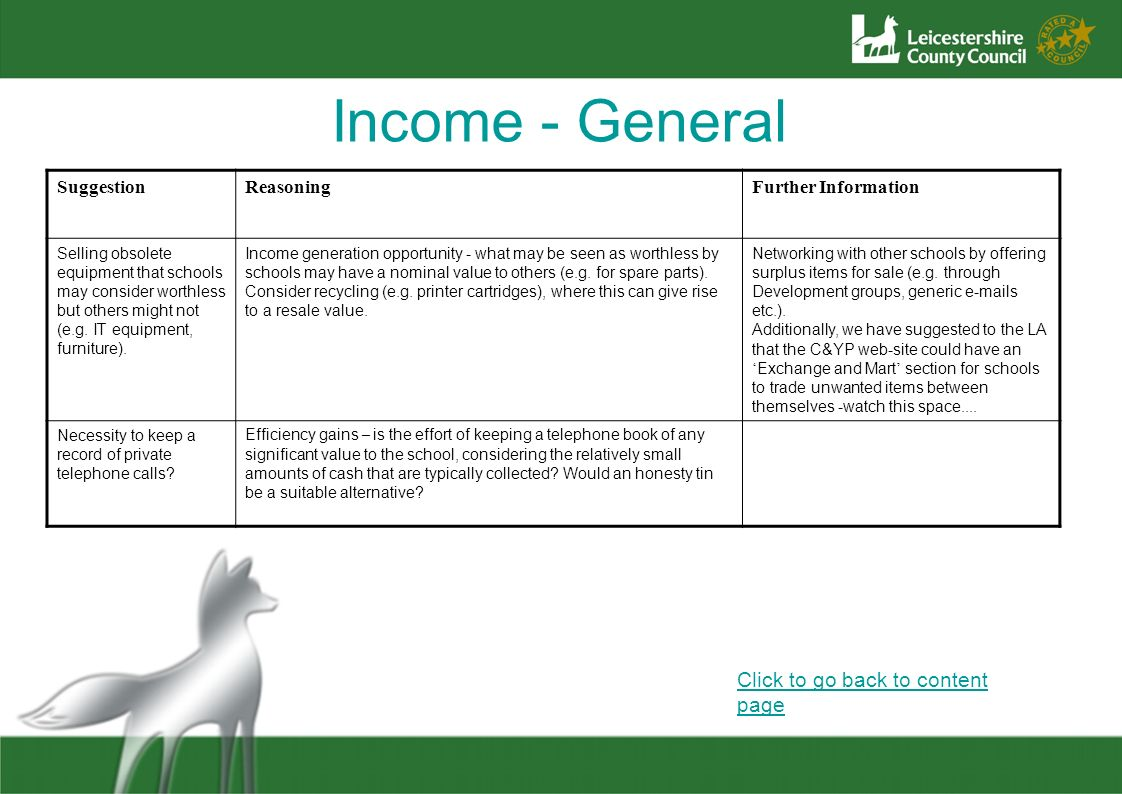 Income - General Click to go back to content page Suggestion Reasoning