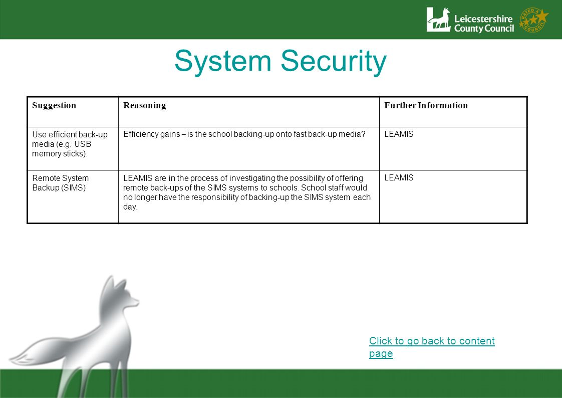 System Security Click to go back to content page Suggestion Reasoning