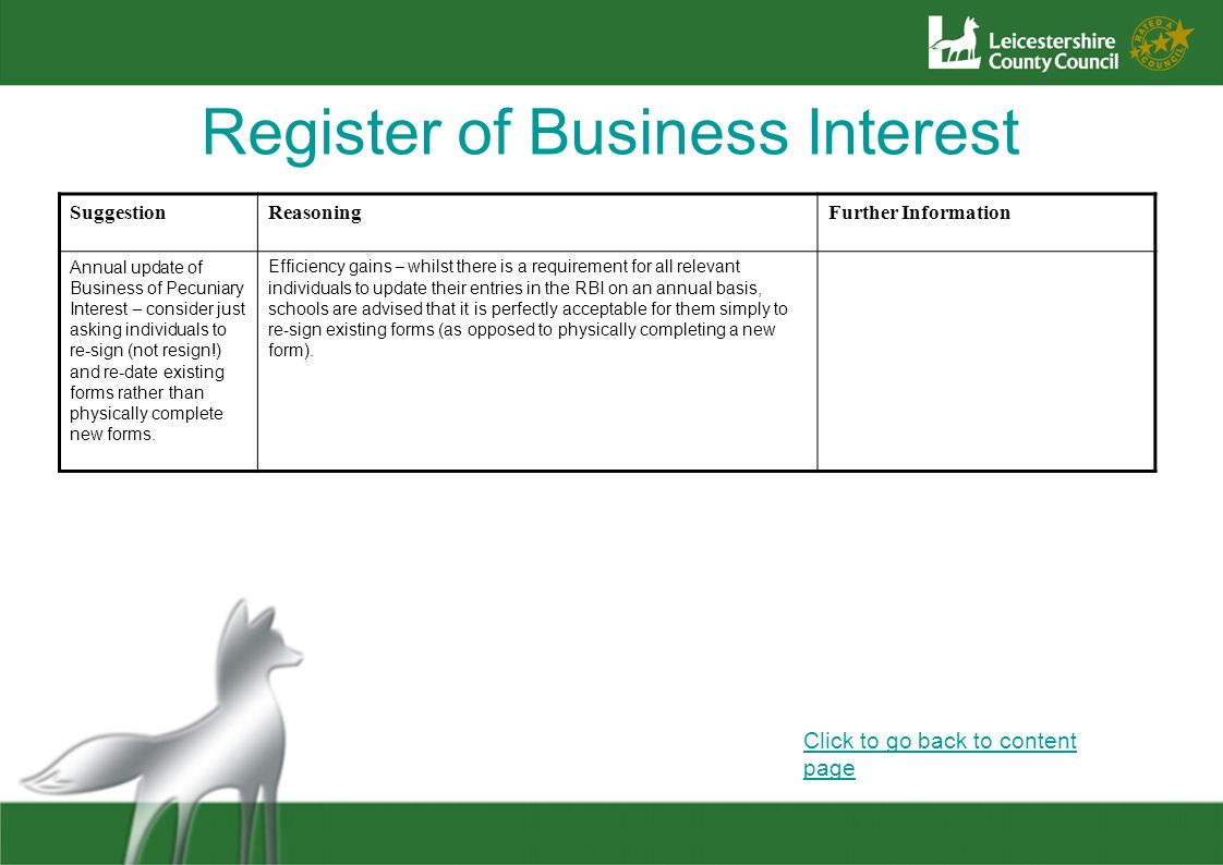 Register of Business Interest