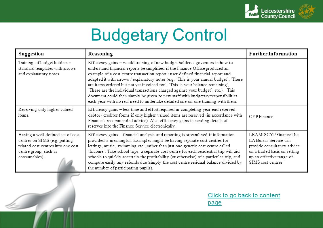 Budgetary Control Click to go back to content page Suggestion