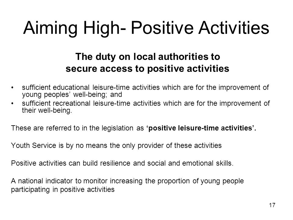Aiming High- Positive Activities