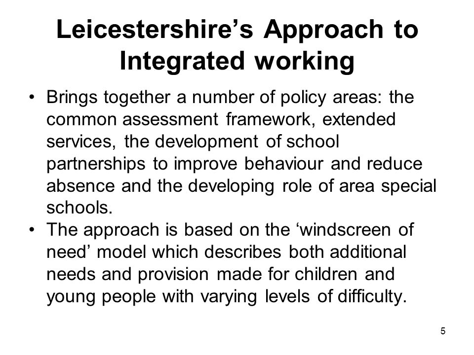 Leicestershire's Approach to Integrated working