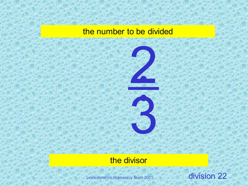  2 3 the number to be divided the divisor Division 22