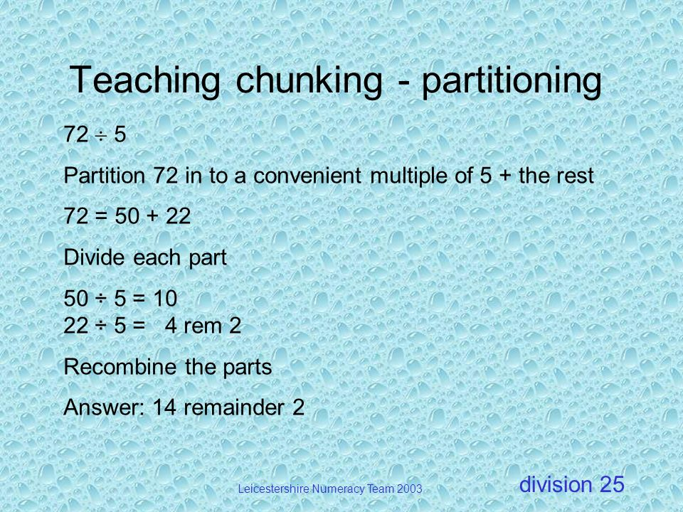 Teaching chunking - partitioning