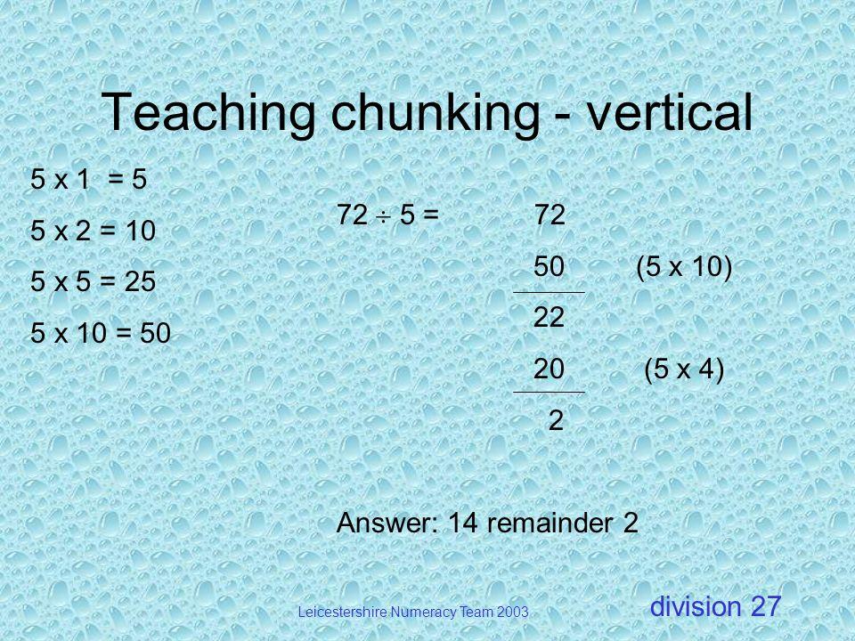 Teaching chunking - vertical