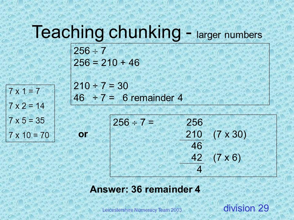Teaching chunking - larger numbers