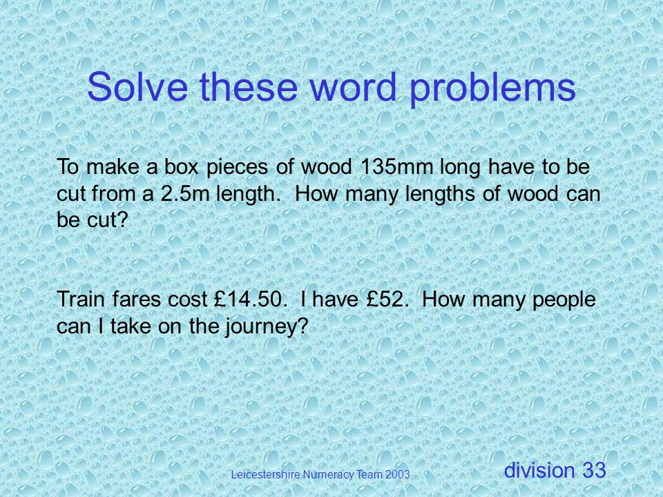 Solve these word problems