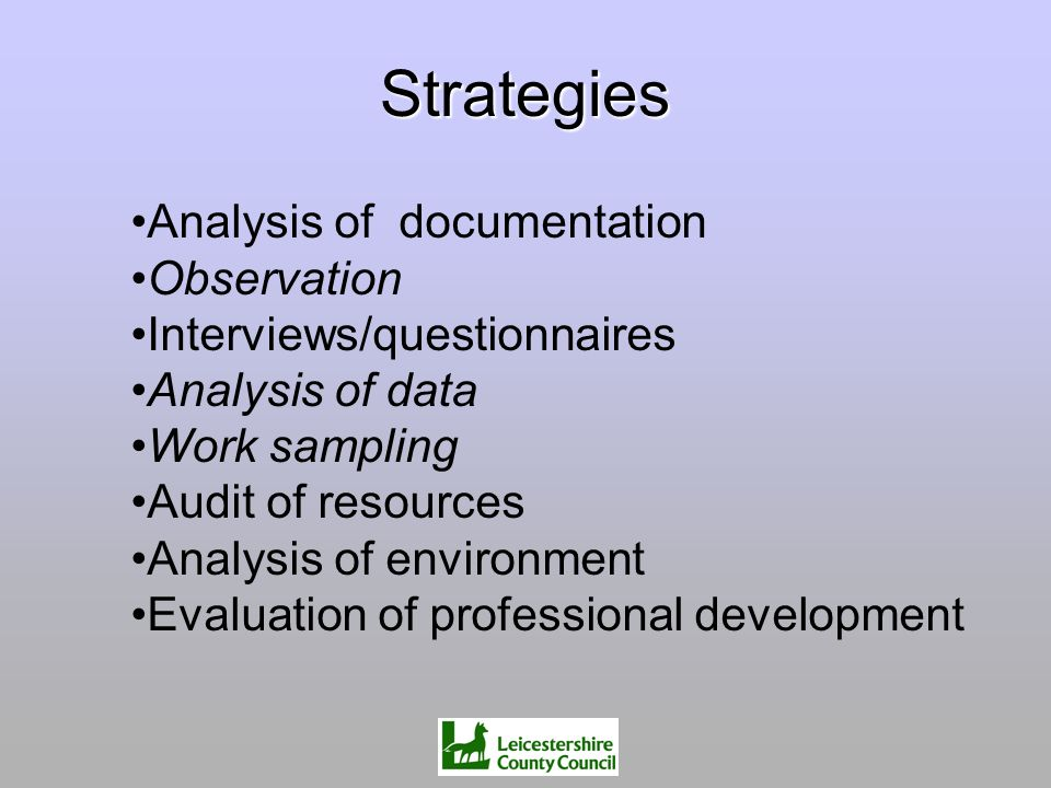 Strategies Analysis of documentation Observation