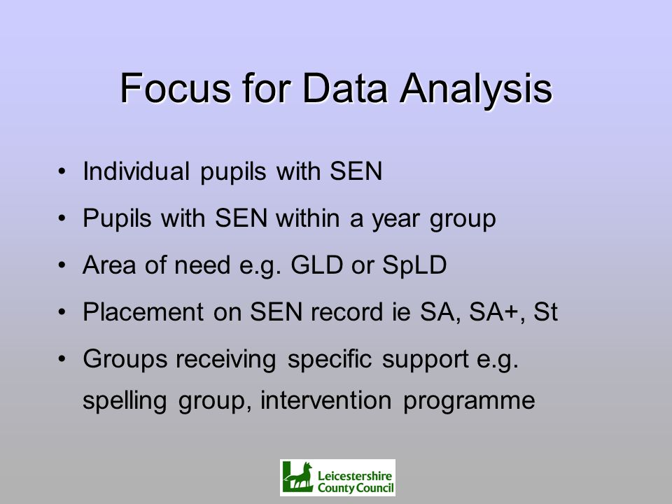 Focus for Data Analysis