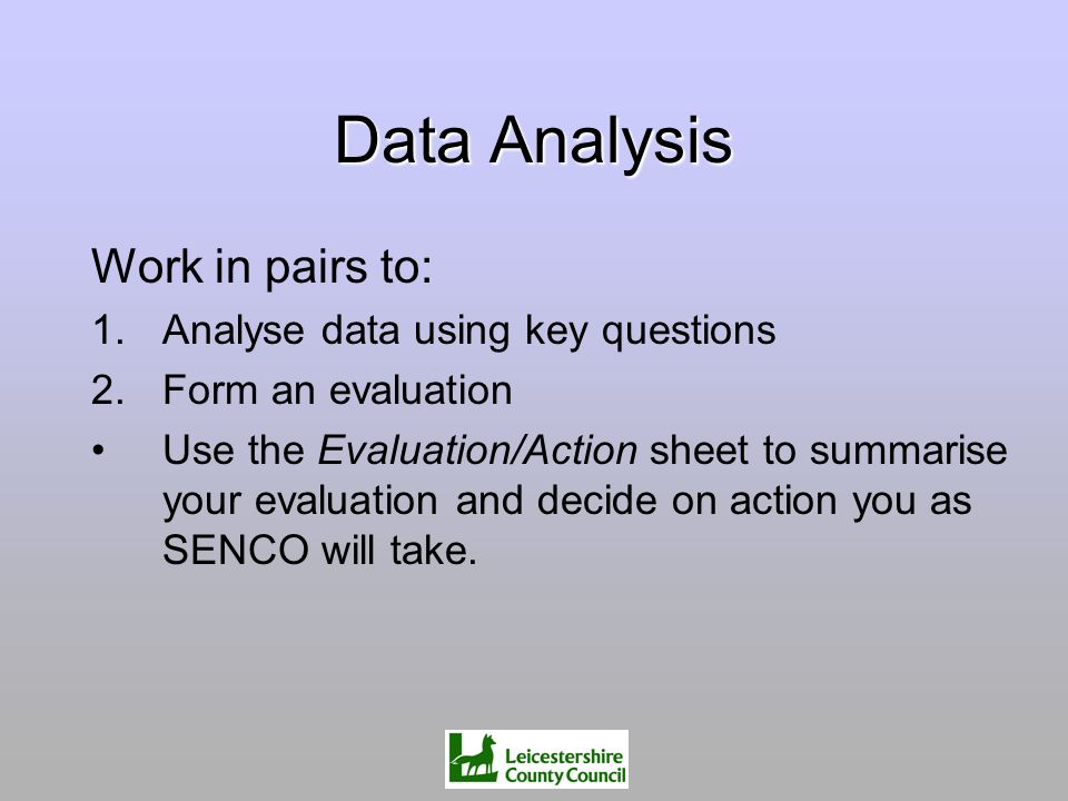 Data Analysis Work in pairs to: Analyse data using key questions