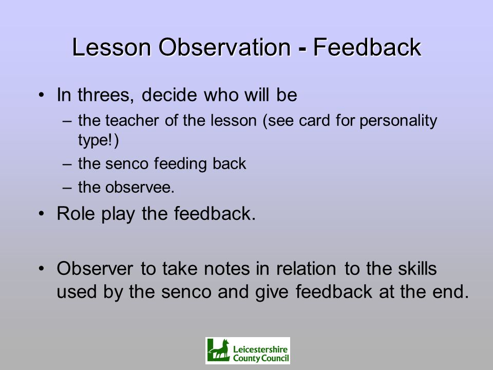 Lesson Observation - Feedback