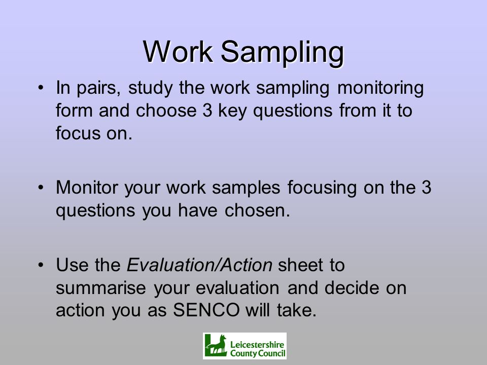 Work Sampling In pairs, study the work sampling monitoring form and choose 3 key questions from it to focus on.