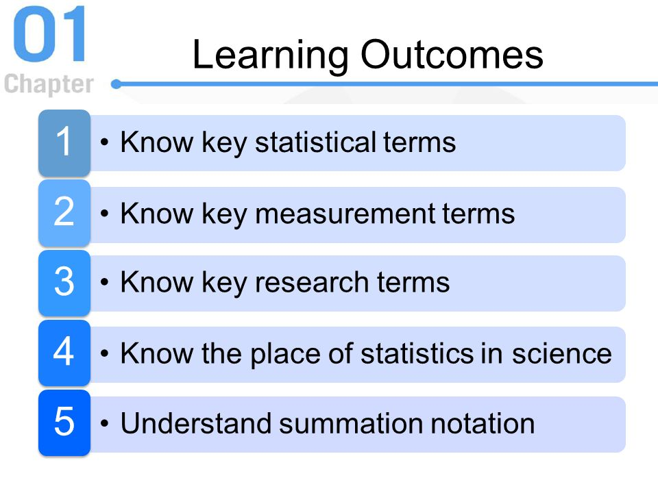 Learning Outcomes 1 Know key statistical terms 2