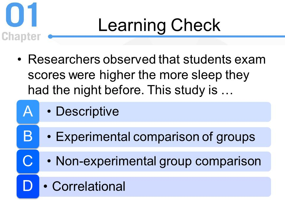 Learning Check Researchers observed that students exam scores were higher the more sleep they had the night before. This study is …