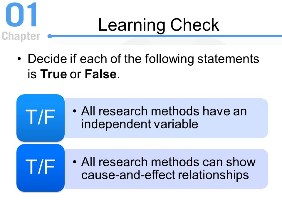 Learning Check Decide if each of the following statements is True or False. T/F. All research methods have an independent variable.