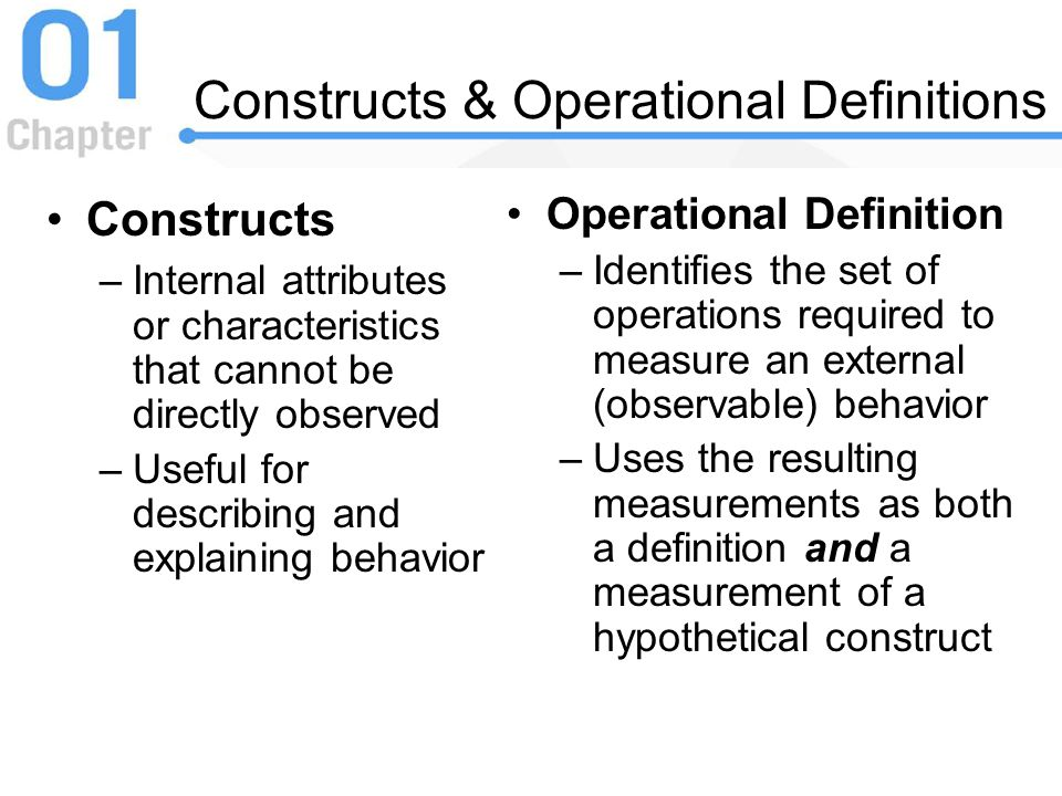 Constructs & Operational Definitions