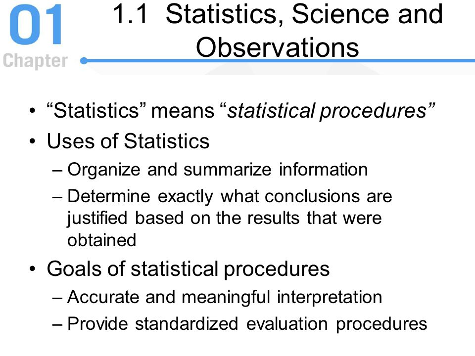 1.1 Statistics, Science and Observations