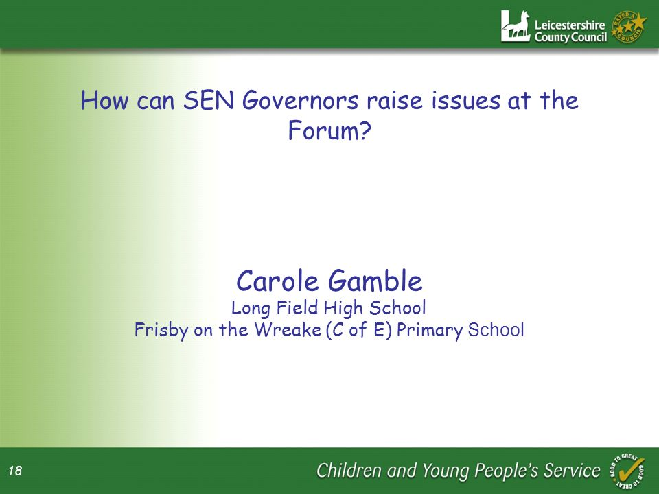 Carole Gamble How can SEN Governors raise issues at the Forum