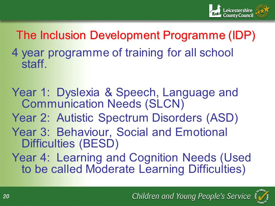 The Inclusion Development Programme (IDP)