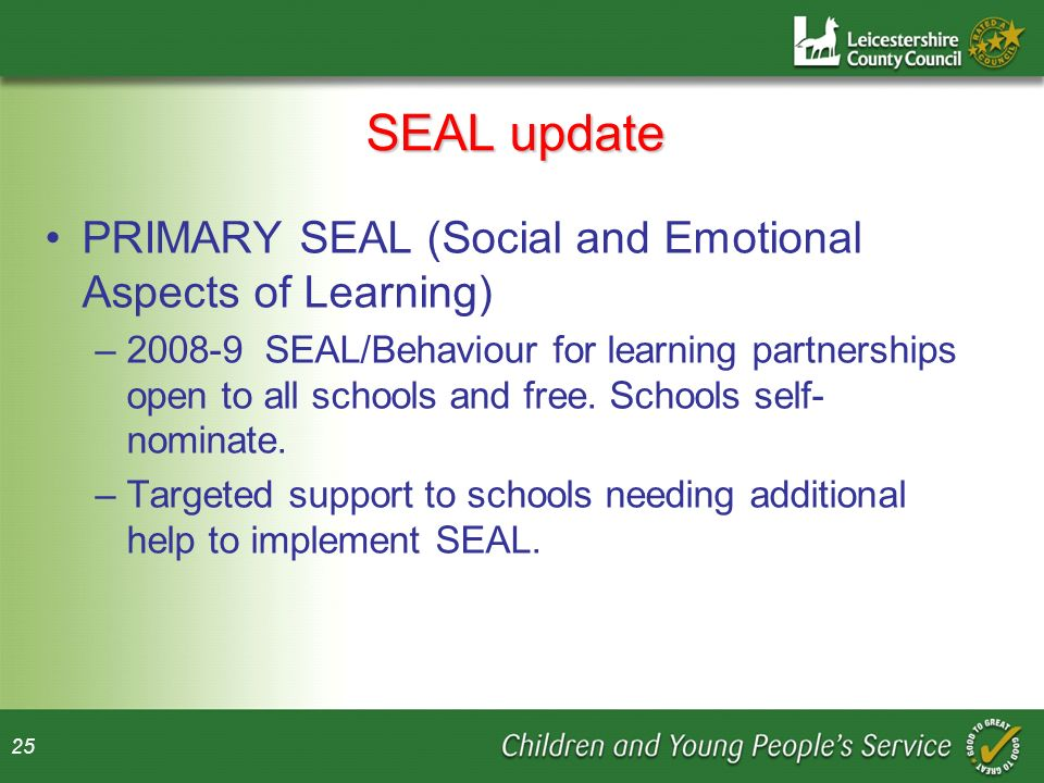 SEAL update PRIMARY SEAL (Social and Emotional Aspects of Learning)