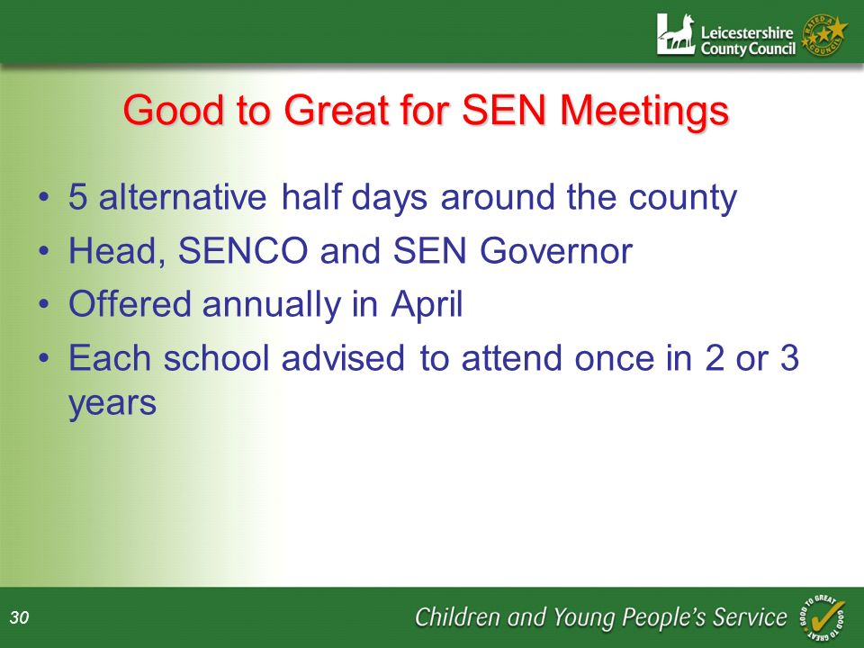 Good to Great for SEN Meetings