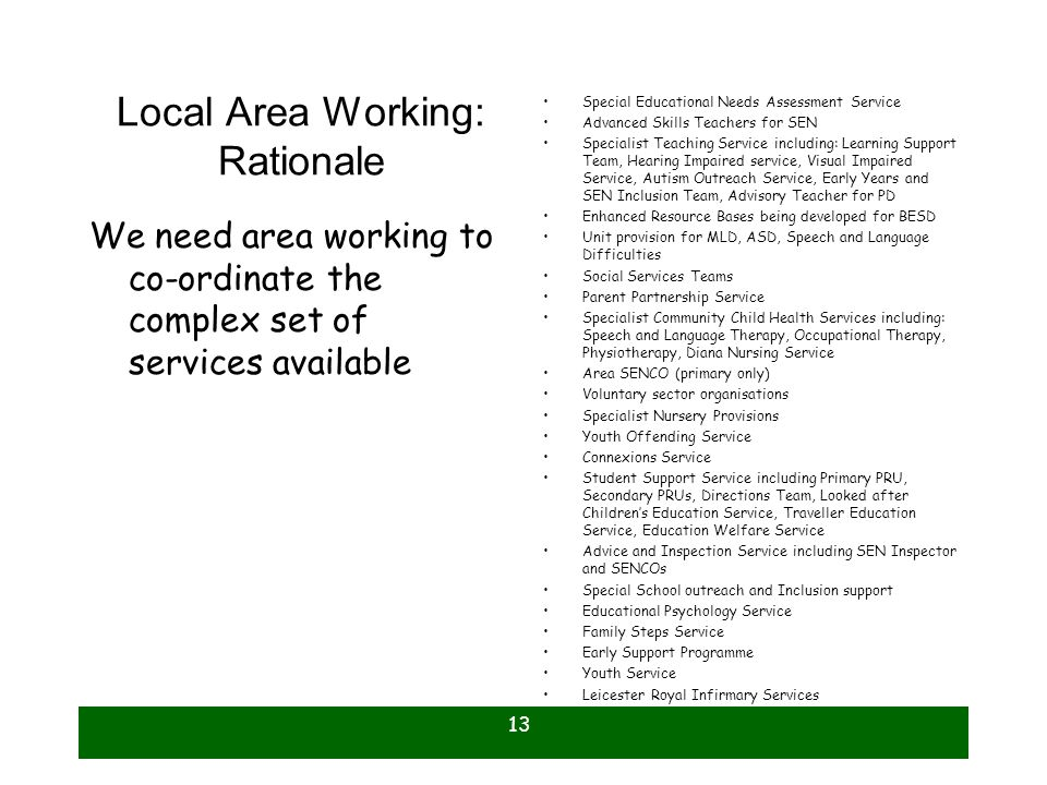 Local Area Working: Rationale