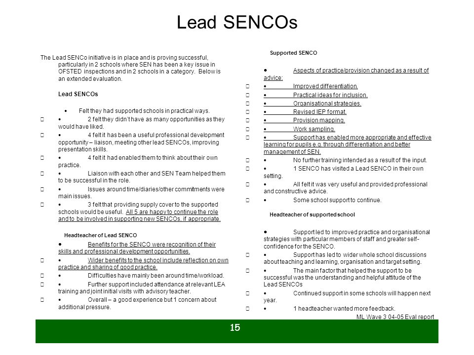 Lead SENCOs Supported SENCO. · Aspects of practice/provision changed as a result of advice: · Improved differentiation.